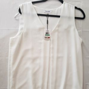 NEW WITH TAGS Calvin Klein white Vneck blouse